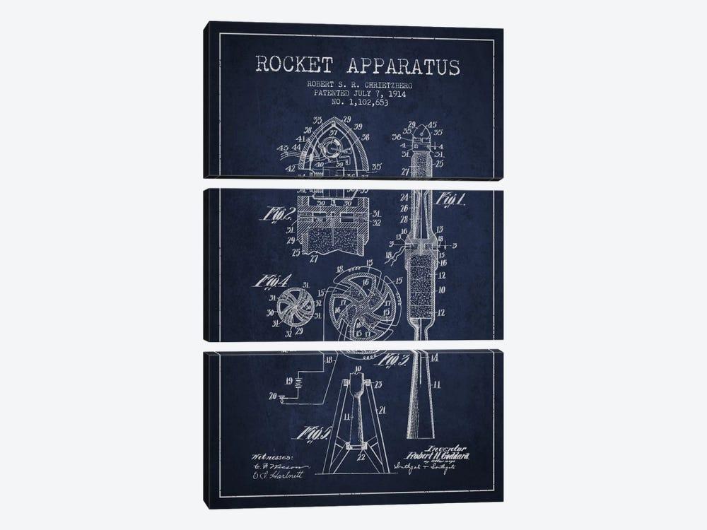 Rocket Apparatus Navy Blue Patent Blueprint by Aged Pixel 3-piece Canvas Wall Art