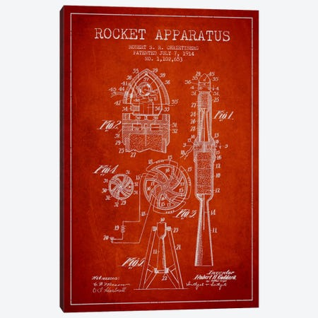 Rocket Apparatus Red Patent Blueprint Canvas Print #ADP2358} by Aged Pixel Canvas Art