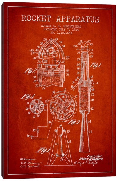 Rocket Apparatus Red Patent Blueprint Canvas Art Print