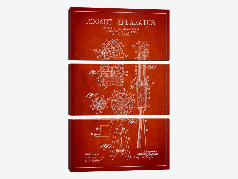 Rocket Apparatus Red Patent Blueprint by Aged Pixel 3-piece Canvas Print
