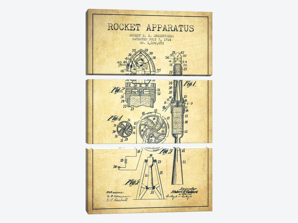 Rocket Apparatus Vintage Patent Blueprint by Aged Pixel 3-piece Canvas Wall Art