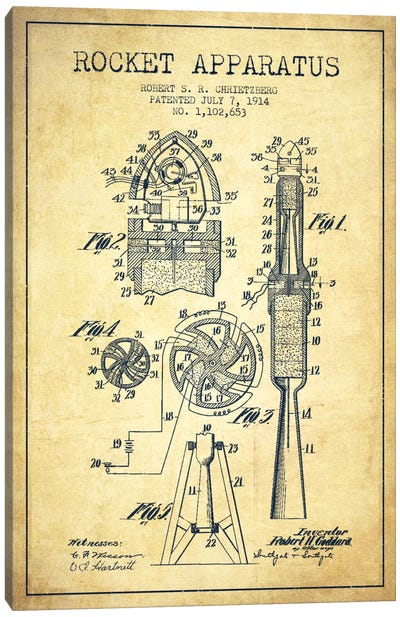 Rocket Apparatus Vintage Patent Blueprint Canvas Art Print