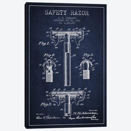 Razor Navy Blue Patent Blueprint Canvas Print #ADP235} by Aged Pixel Art Print
