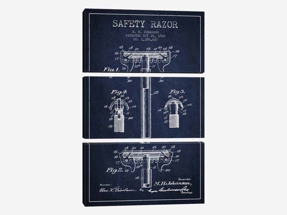 Razor Navy Blue Patent Blueprint by Aged Pixel 3-piece Canvas Artwork