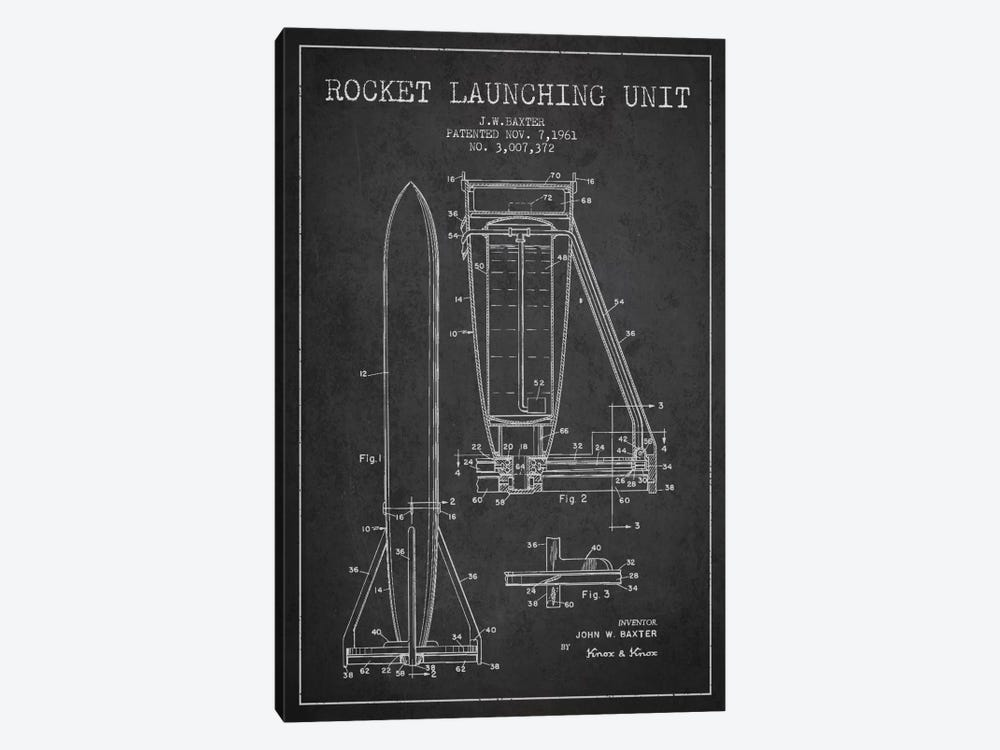 Rocket Unit Charcoal Patent Blueprint by Aged Pixel 1-piece Canvas Art