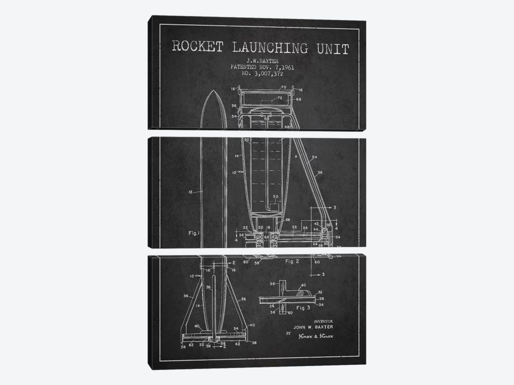 Rocket Unit Charcoal Patent Blueprint by Aged Pixel 3-piece Canvas Wall Art