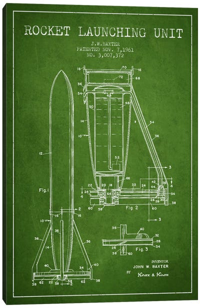 Rocket Unit Green Patent Blueprint Canvas Art Print