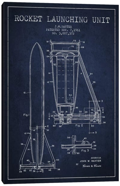 Rocket Unit Navy Blue Patent Blueprint Canvas Art Print