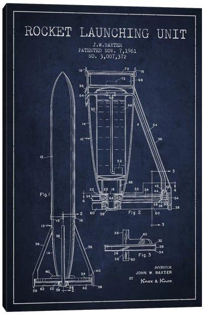 Rocket Unit Navy Blue Patent Blueprint Canvas Art Print
