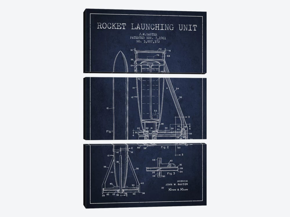 Rocket Unit Navy Blue Patent Blueprint by Aged Pixel 3-piece Canvas Wall Art