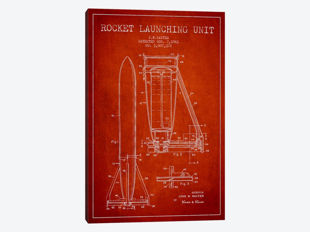 Rocket Unit Red Patent Blueprint by Aged Pixel 1-piece Canvas Print