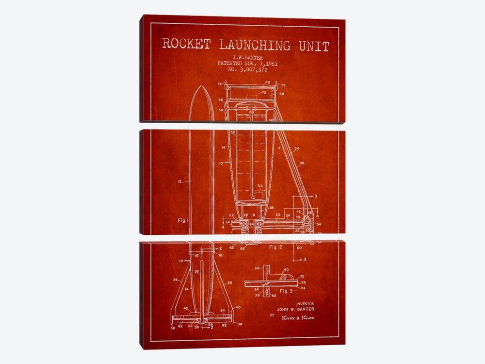 Rocket Unit Red Patent Blueprint by Aged Pixel 3-piece Canvas Art Print