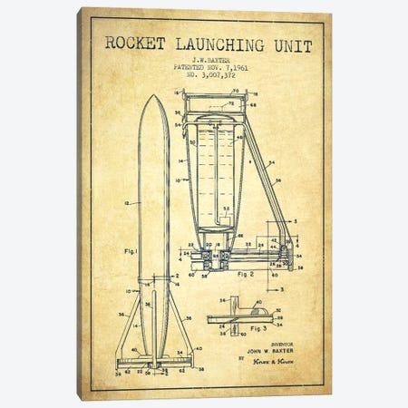 Rocket Unit Vintage Patent Blueprint Canvas Print #ADP2364} by Aged Pixel Canvas Wall Art
