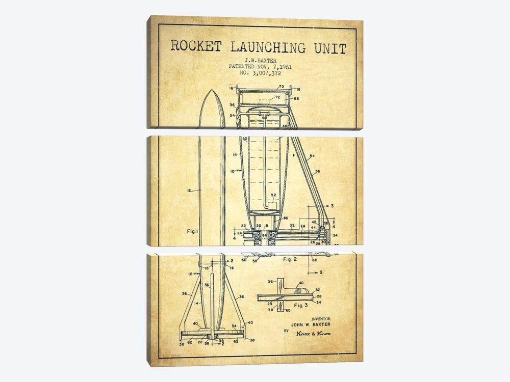 Rocket Unit Vintage Patent Blueprint by Aged Pixel 3-piece Canvas Art