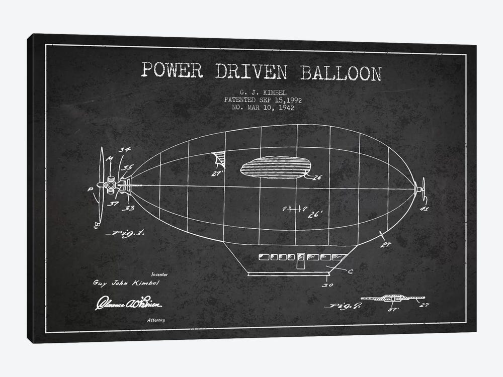 Zeppelin Charcoal Patent Blueprint by Aged Pixel 1-piece Canvas Art Print