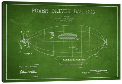 Zeppelin Green Patent Blueprint Canvas Art Print