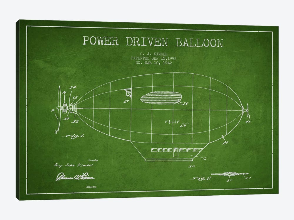 Zeppelin Green Patent Blueprint by Aged Pixel 1-piece Canvas Art