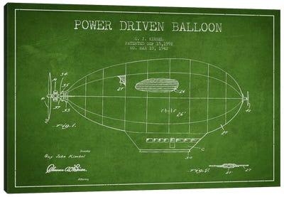 Zeppelin Green Patent Blueprint Canvas Art Print