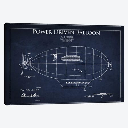 Zeppelin Navy Blue Patent Blueprint Canvas Print #ADP2367} by Aged Pixel Canvas Wall Art