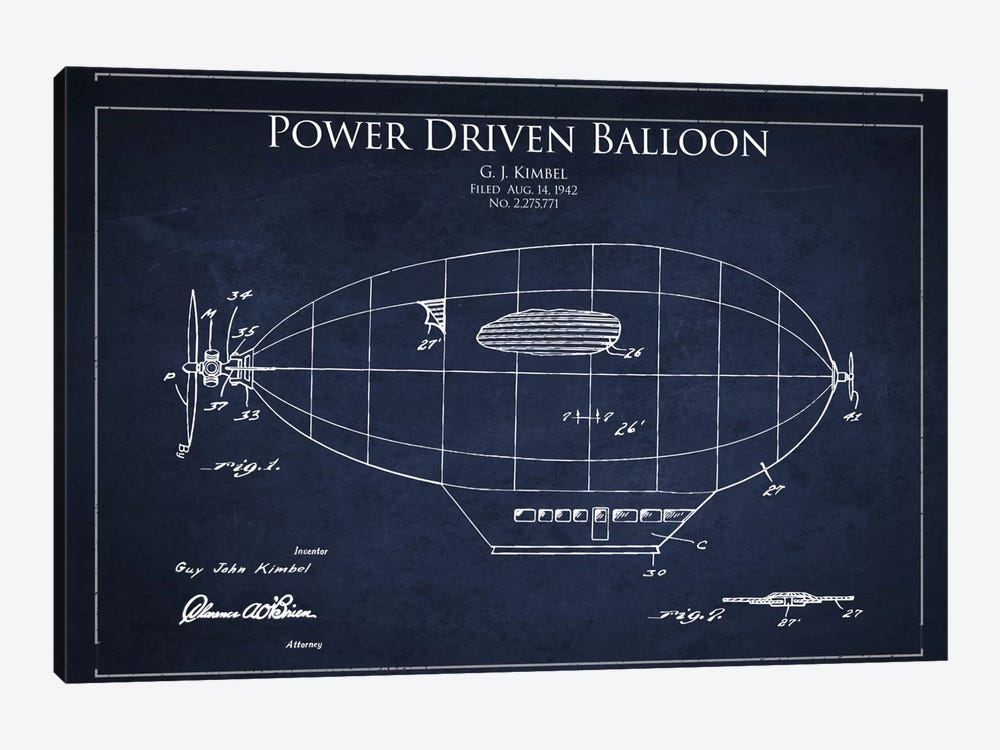 Zeppelin Navy Blue Patent Blueprint by Aged Pixel 1-piece Canvas Print