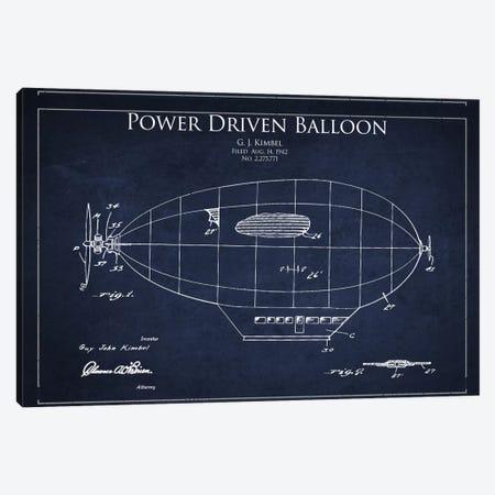 Zeppelin Navy Blue Patent Blueprint Canvas Print #ADP2367} by Aged Pixel Canvas Wall Art