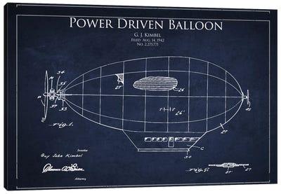Zeppelin Navy Blue Patent Blueprint Canvas Art Print