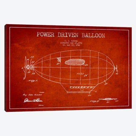 Zeppelin Red Patent Blueprint Canvas Print #ADP2368} by Aged Pixel Art Print