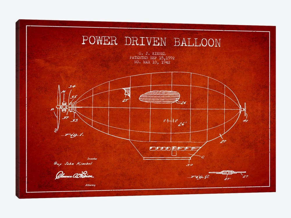 Zeppelin Red Patent Blueprint by Aged Pixel 1-piece Canvas Artwork