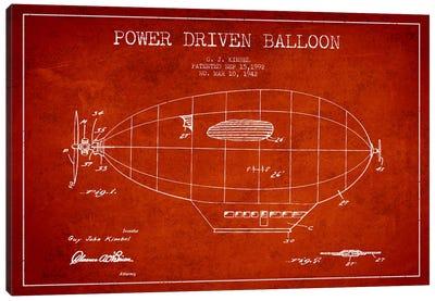 Zeppelin Red Patent Blueprint Canvas Art Print