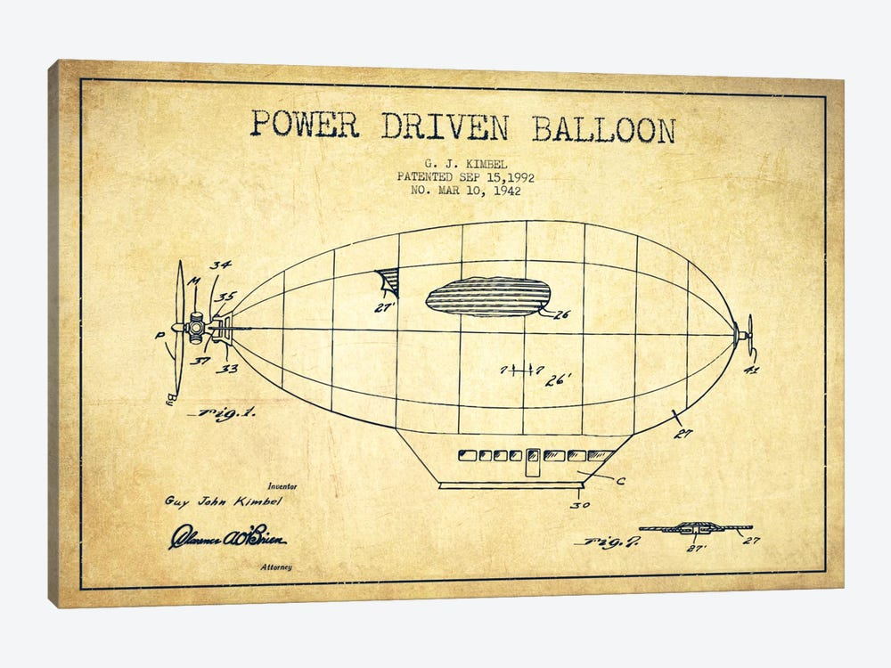 Zeppelin Vintage Patent Blueprint by Aged Pixel 1-piece Art Print