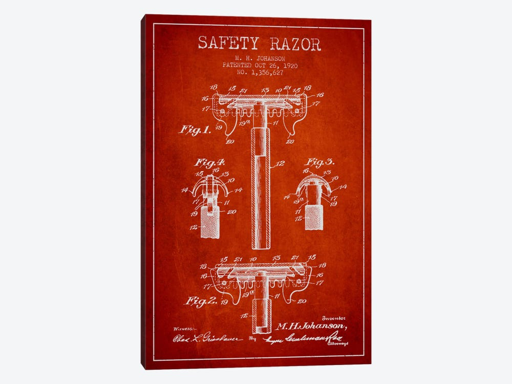 Razor Red Patent Blueprint by Aged Pixel 1-piece Art Print
