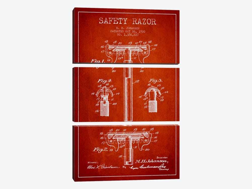 Razor Red Patent Blueprint by Aged Pixel 3-piece Art Print