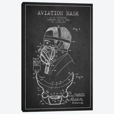 Aviation Mask Charcoal Patent Blueprint Canvas Print #ADP2370} by Aged Pixel Canvas Artwork