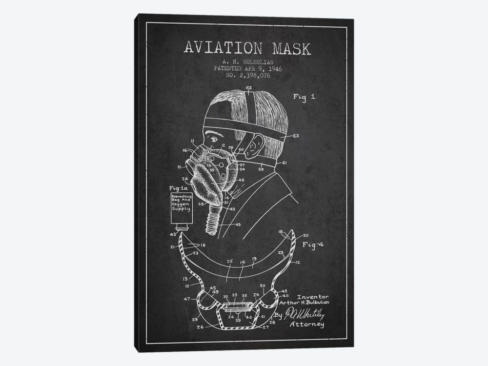 Aviation Mask Charcoal Patent Blueprint by Aged Pixel 1-piece Canvas Print