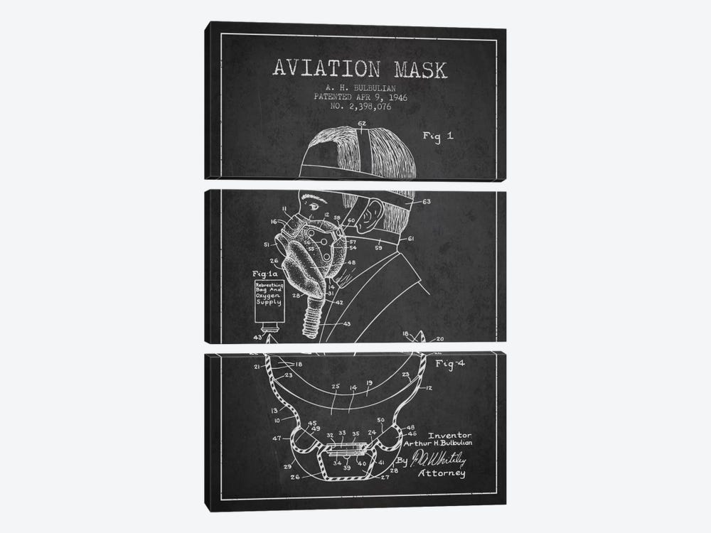 Aviation Mask Charcoal Patent Blueprint by Aged Pixel 3-piece Art Print