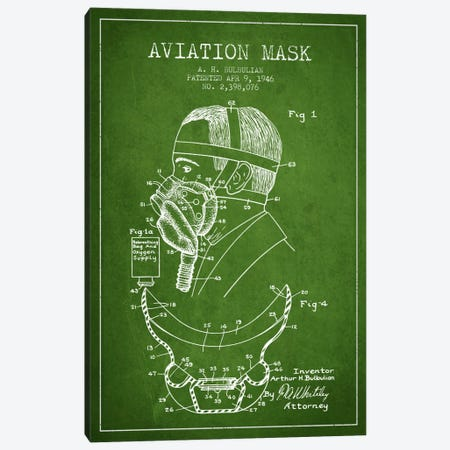 Aviation Mask Green Patent Blueprint Canvas Print #ADP2371} by Aged Pixel Canvas Art