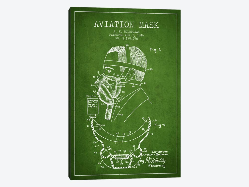 Aviation Mask Green Patent Blueprint by Aged Pixel 1-piece Canvas Art