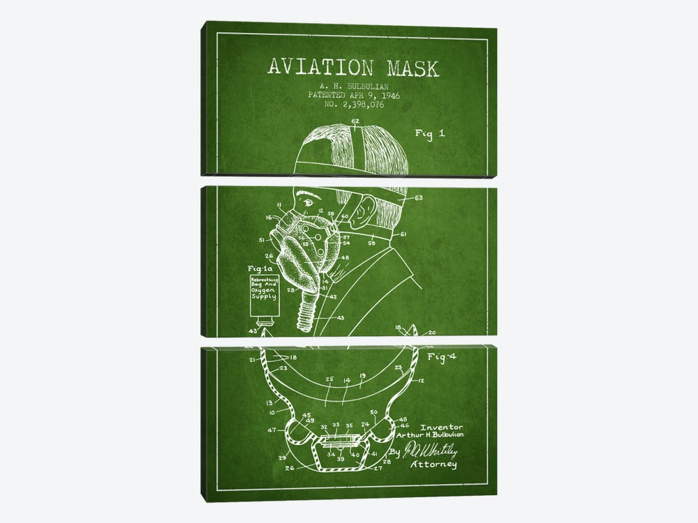 Aviation Mask Green Patent Blueprint by Aged Pixel 3-piece Canvas Artwork
