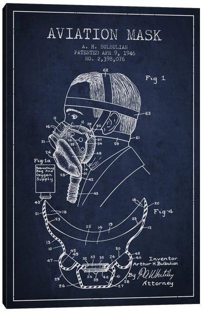 Aviation Mask Navy Blue Patent Blueprint Canvas Print #ADP2372