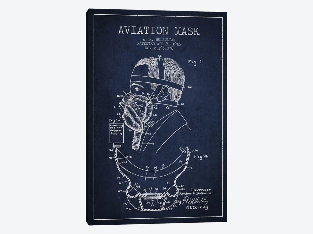 Aviation Mask Navy Blue Patent Blueprint by Aged Pixel 1-piece Canvas Art Print