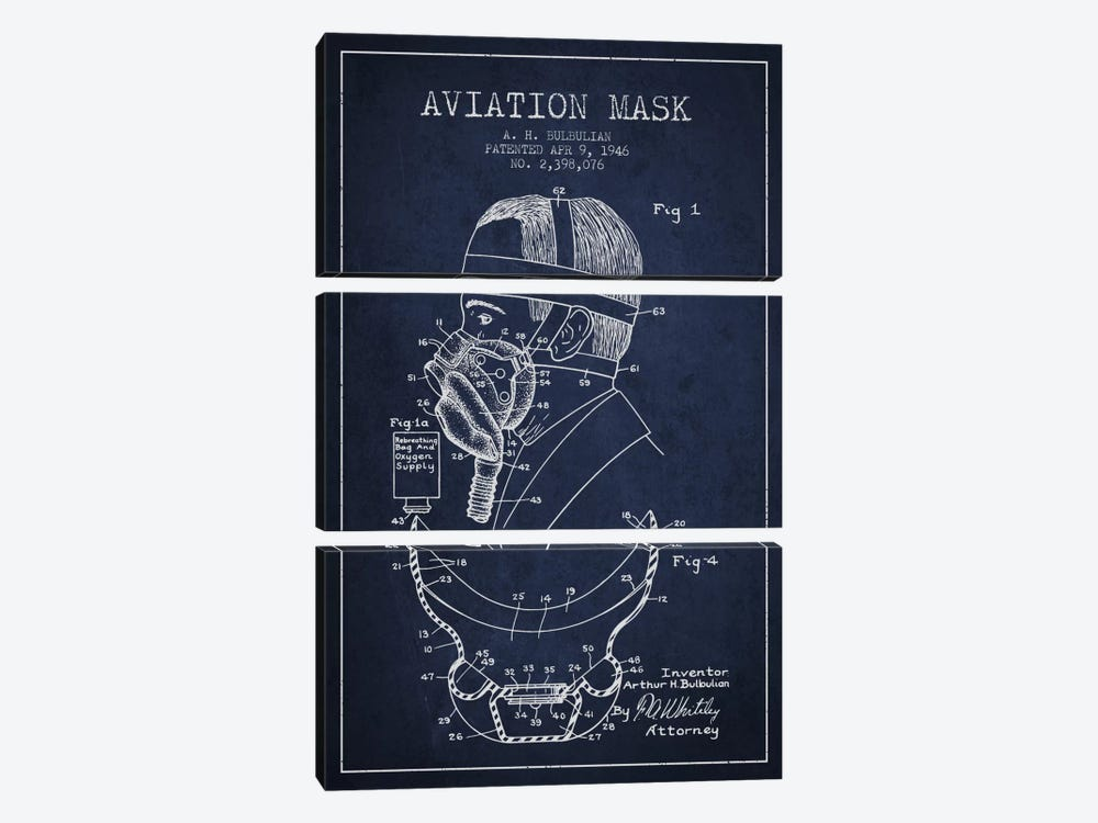 Aviation Mask Navy Blue Patent Blueprint by Aged Pixel 3-piece Canvas Art Print
