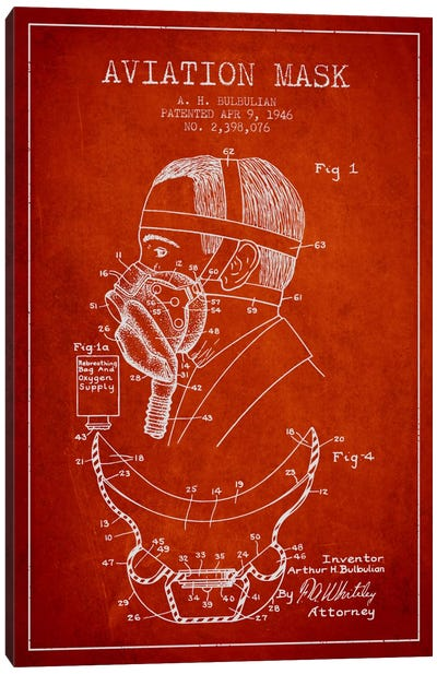 Aviation Mask Red Patent Blueprint Canvas Art Print