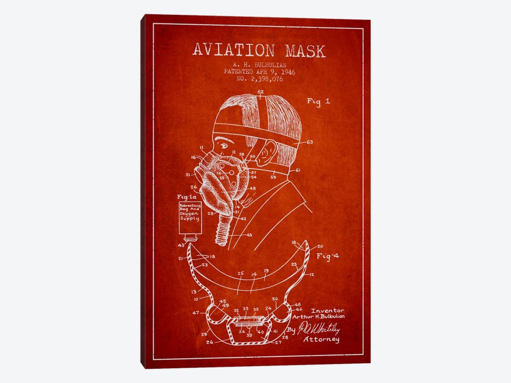 Aviation Mask Red Patent Blueprint by Aged Pixel 1-piece Canvas Artwork