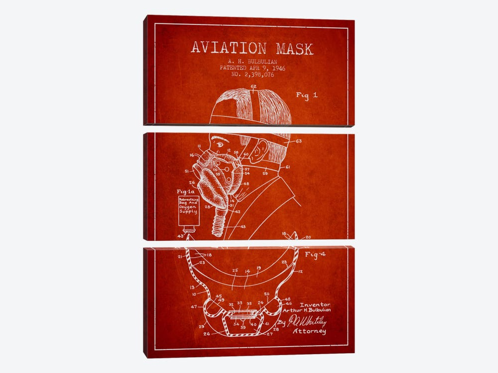 Aviation Mask Red Patent Blueprint by Aged Pixel 3-piece Canvas Art