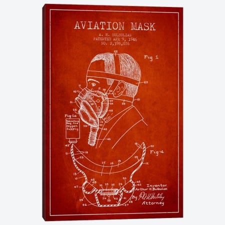 Aviation Mask Red Patent Blueprint Canvas Print #ADP2373} by Aged Pixel Canvas Artwork