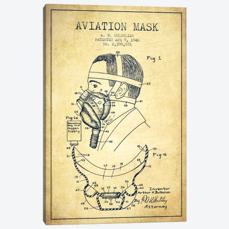 Aviation Mask Vintage Patent Blueprint Canvas Print #ADP2374} by Aged Pixel Canvas Art Print
