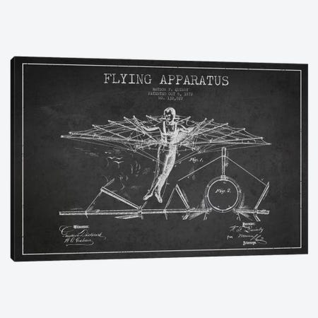 Flying Apparatus Charcoal Patent Blueprint Canvas Print #ADP2375} by Aged Pixel Art Print