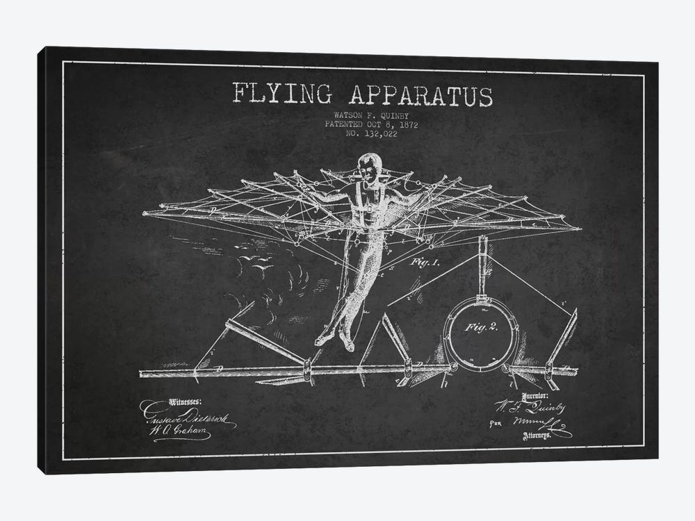 Flying Apparatus Charcoal Patent Blueprint by Aged Pixel 1-piece Canvas Artwork