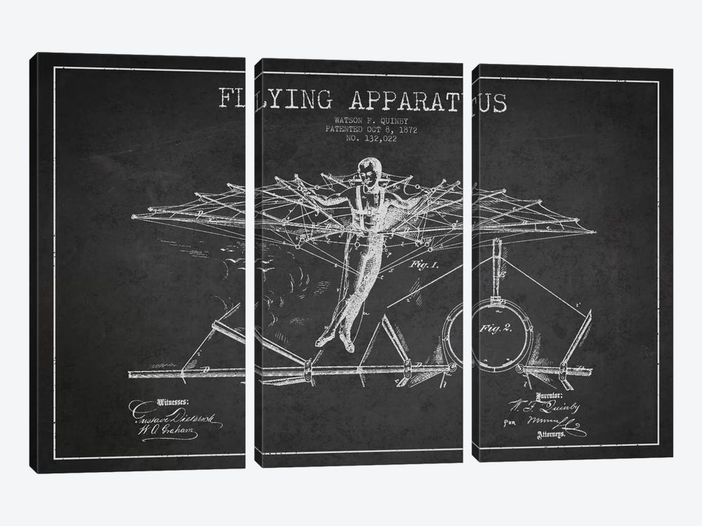 Flying Apparatus Charcoal Patent Blueprint by Aged Pixel 3-piece Canvas Artwork