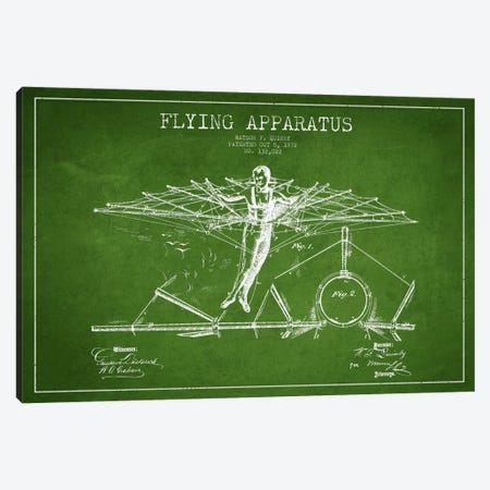 Flying Apparatus Green Patent Blueprint Canvas Print #ADP2376} by Aged Pixel Art Print